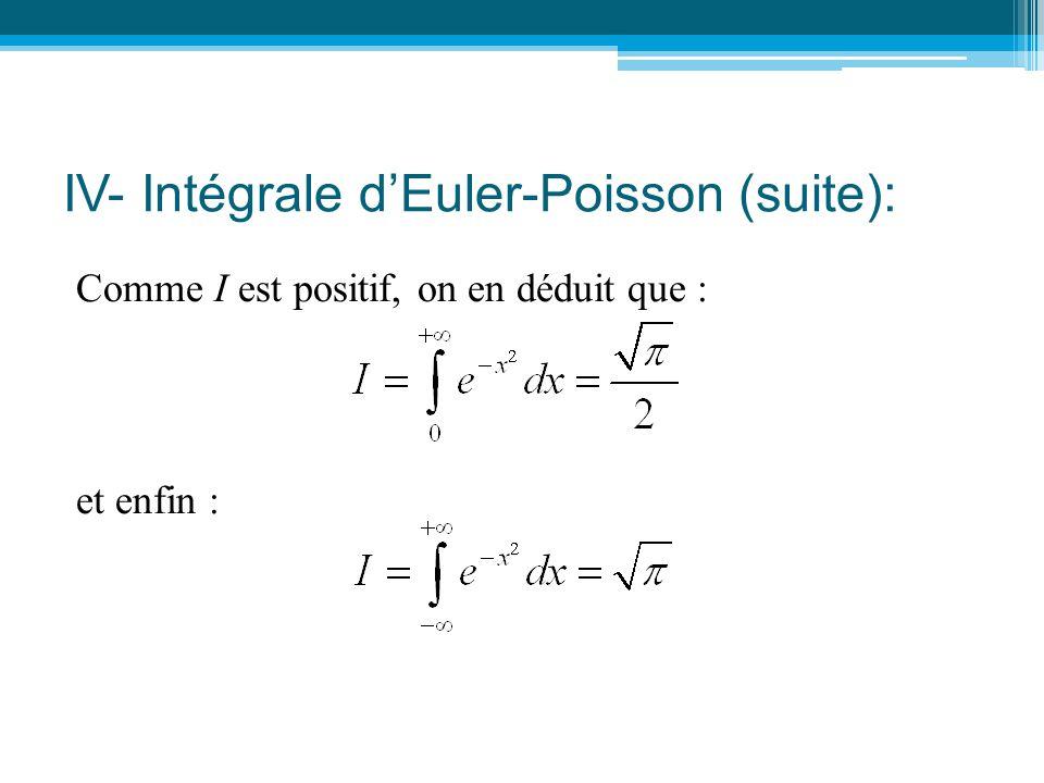 IV- Intégrale d'Euler-Poisson (suite): Comme I est positif, on en déduit que : et enfin :