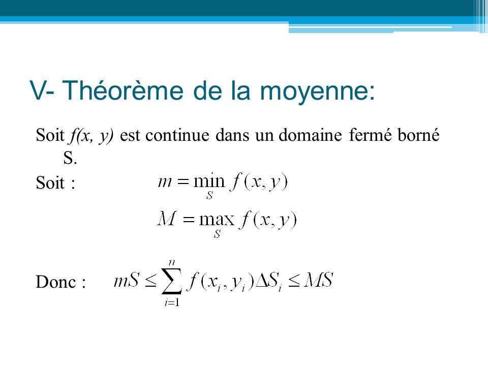 V- Théorème de la moyenne: Soit f(x, y) est continue dans un domaine fermé borné S. Soit : Donc :