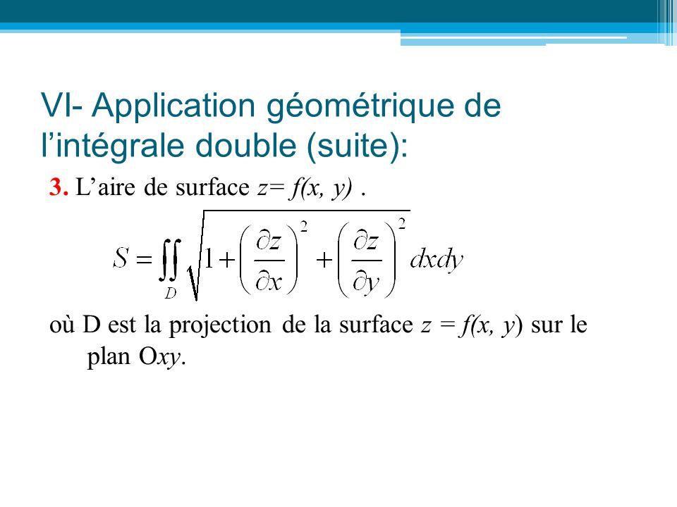 VI- Application géométrique de l'intégrale double (suite): 3. L'aire de surface z= f(x, y). où D est la projection de la surface z = f(x, y) sur le pl