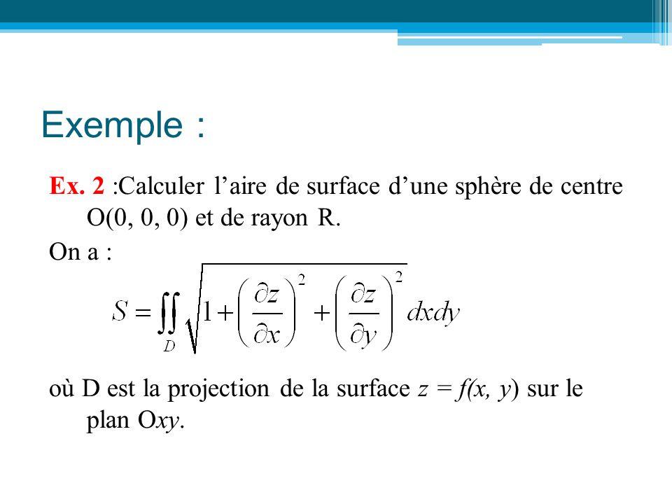 Exemple : Ex. 2 :Calculer l'aire de surface d'une sphère de centre O(0, 0, 0) et de rayon R. On a : où D est la projection de la surface z = f(x, y) s