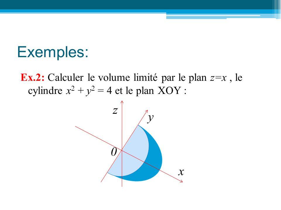 Exemples: Ex.2: Calculer le volume limité par le plan z=x, le cylindre x 2 + y 2 = 4 et le plan XOY : y x z 0