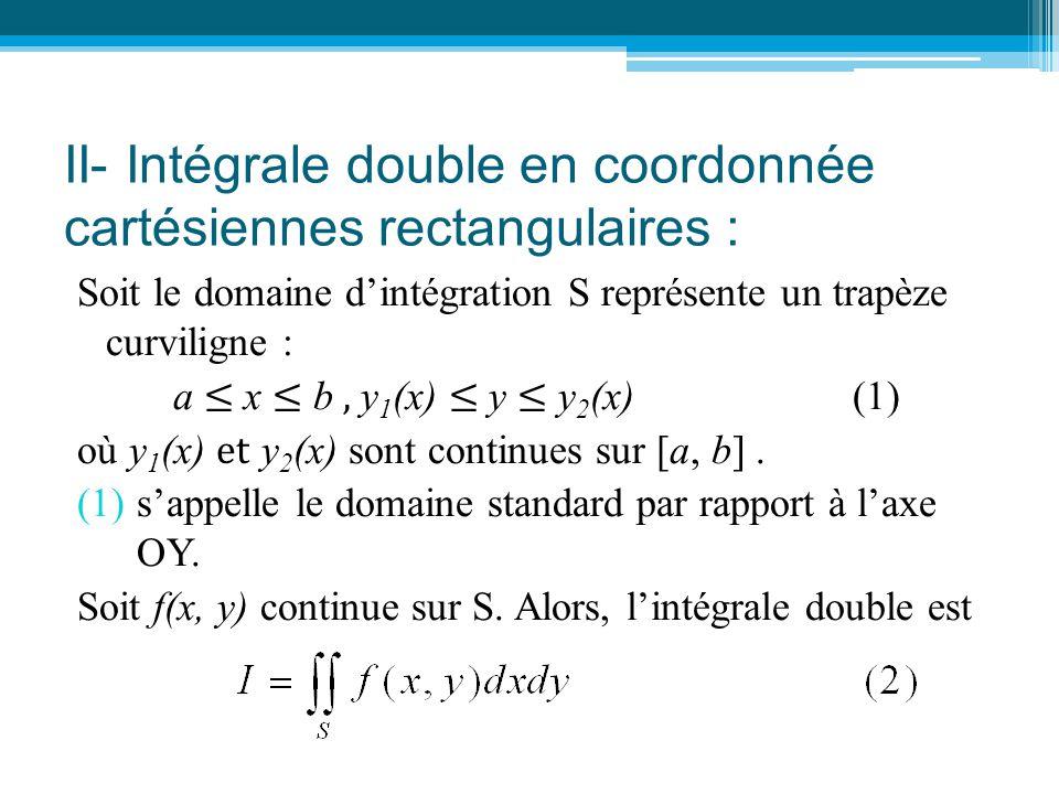 Intégrale double en coordonnée cartésiennes rectangulaires (suite): y 0 x a bx M2M2 M1M1 A2A2 A1A1 B2B2 B1B1 y = y 2 (x) y = y 1 (x) S y2y2 y1y1