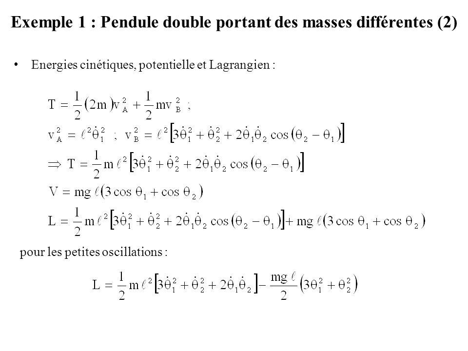 Exemple 1 : Pendule double portant des masses différentes (2) Energies cinétiques, potentielle et Lagrangien : pour les petites oscillations :