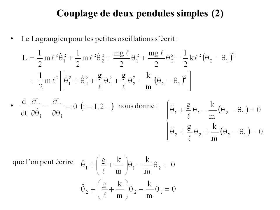 Couplage de deux pendules simples (2) Le Lagrangien pour les petites oscillations s'écrit : nous donne : que l'on peut écrire