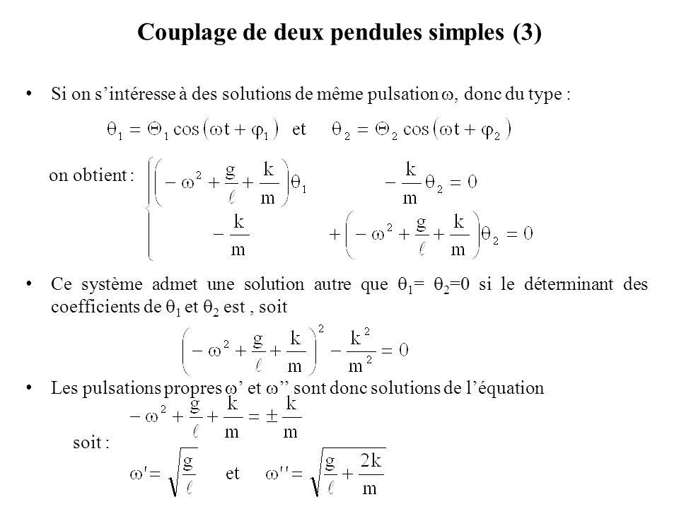 Couplage de deux pendules simples (3) Si on s'intéresse à des solutions de même pulsation , donc du type : on obtient : Ce système admet une solution