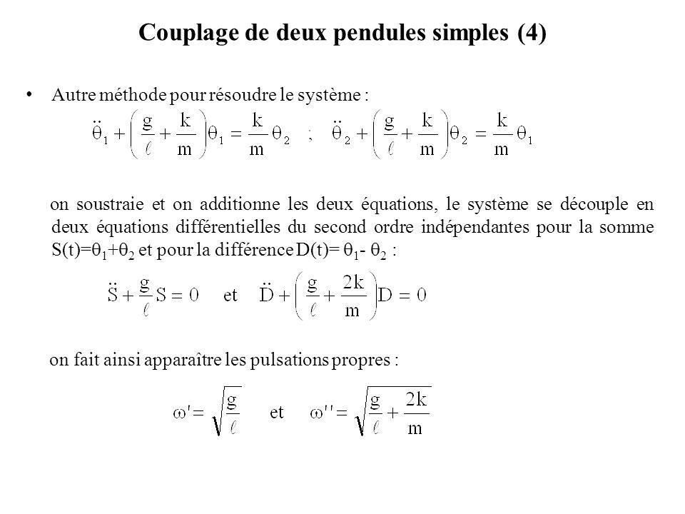 Couplage de deux pendules simples (4) Autre méthode pour résoudre le système : on soustraie et on additionne les deux équations, le système se découpl