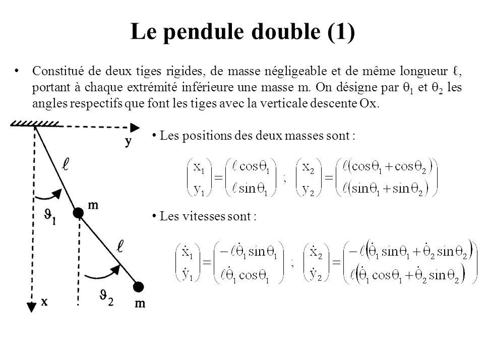 Les positions des deux masses sont : Les vitesses sont : Le pendule double (1) Constitué de deux tiges rigides, de masse négligeable et de même longue