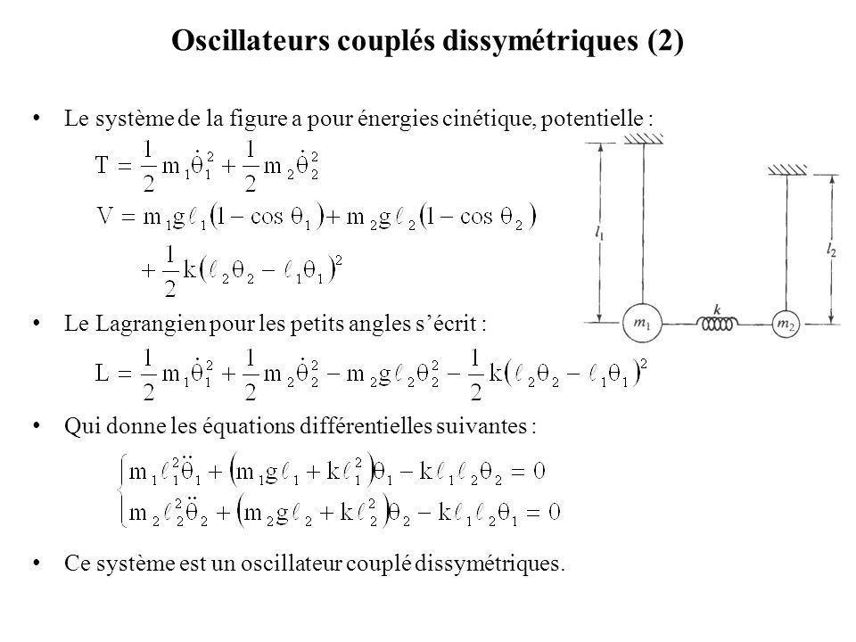 Oscillateurs couplés dissymétriques (2) Le système de la figure a pour énergies cinétique, potentielle : Le Lagrangien pour les petits angles s'écrit