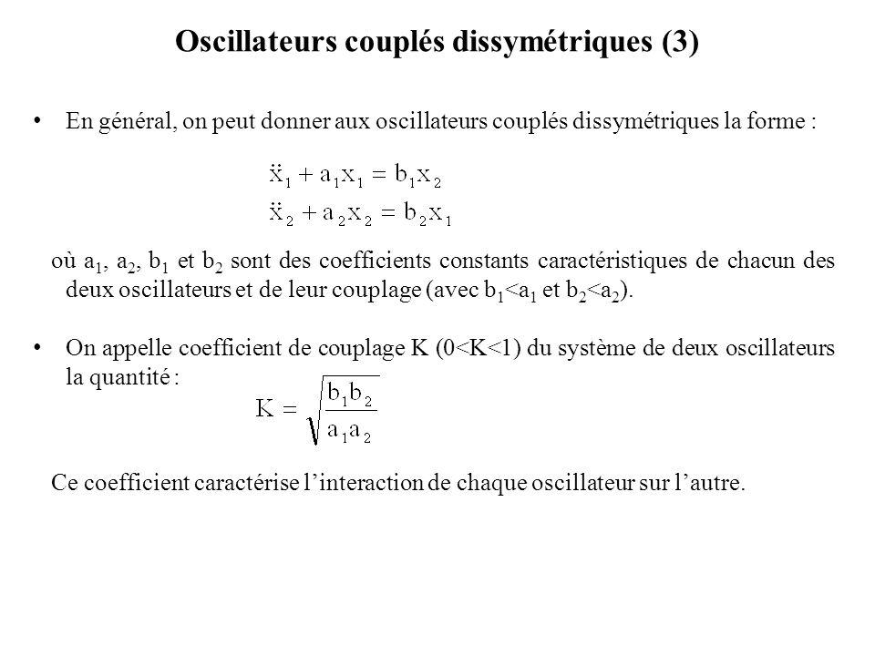 Oscillateurs couplés dissymétriques (3) En général, on peut donner aux oscillateurs couplés dissymétriques la forme : où a 1, a 2, b 1 et b 2 sont des