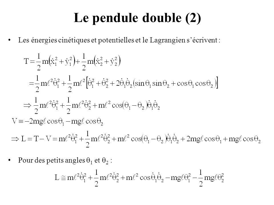 Couplage de deux pendules simples (1) Deux pendules identiques O 1 A 1 et O 2 A 2, de masse m et de longueur ℓ, sont couplés par un ressort horizontal de raideur k qui relie les deux masses A 1 et A 2.
