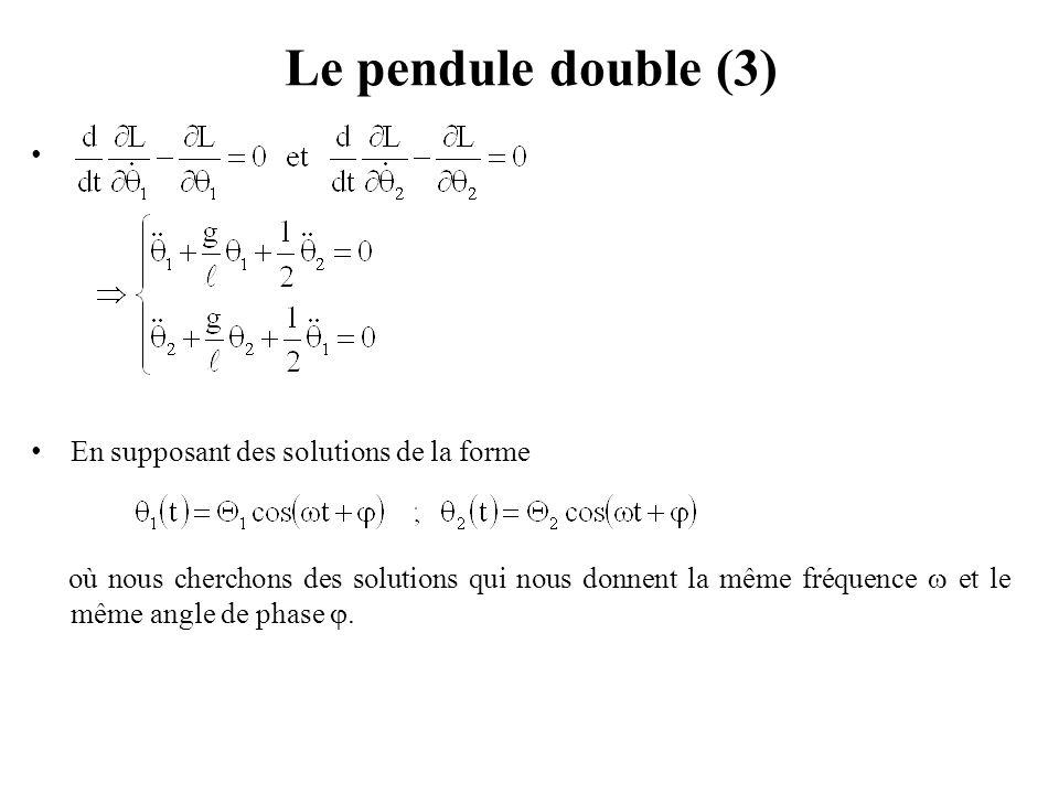 Le pendule double (4) On obtient Pour que le système d'équations admette des solutions  1 et  2 différentes de zéro, il faut que le déterminant des coefficients de  1 et  2 soit nul qui donne l'équation bicarrée aux pulsations propres :