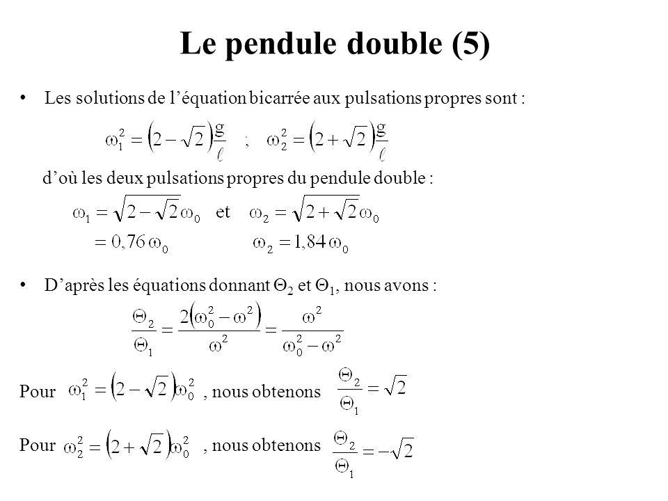 Couplage de deux pendules simples (4) Autre méthode pour résoudre le système : on soustraie et on additionne les deux équations, le système se découple en deux équations différentielles du second ordre indépendantes pour la somme S(t)=  1 +  2 et pour la différence D(t)=  1 -  2 : on fait ainsi apparaître les pulsations propres :