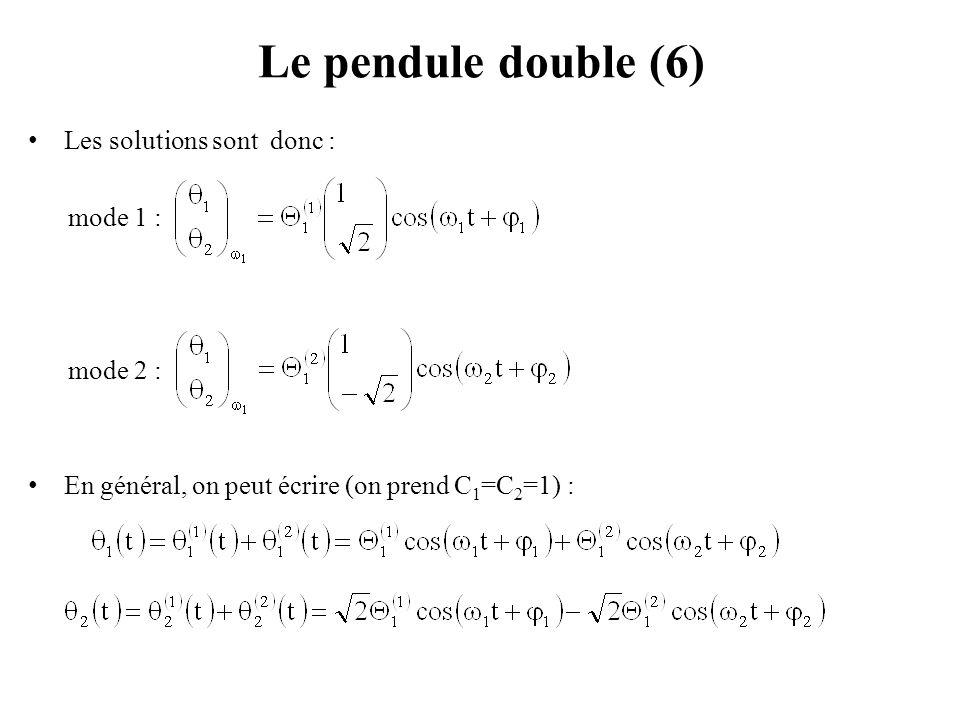 Le pendule double (6) Les solutions sont donc : mode 1 : mode 2 : En général, on peut écrire (on prend C 1 =C 2 =1) :