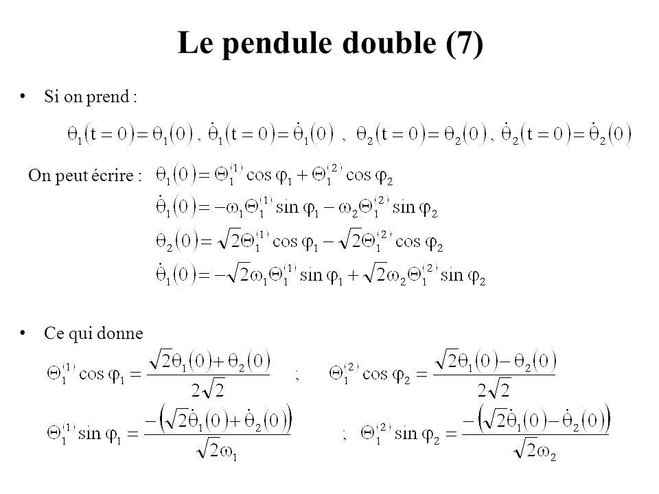 Le pendule double (8) On obtient : Pour obtenir le mode (1) seul : Pour obtenir le mode (2) seul :
