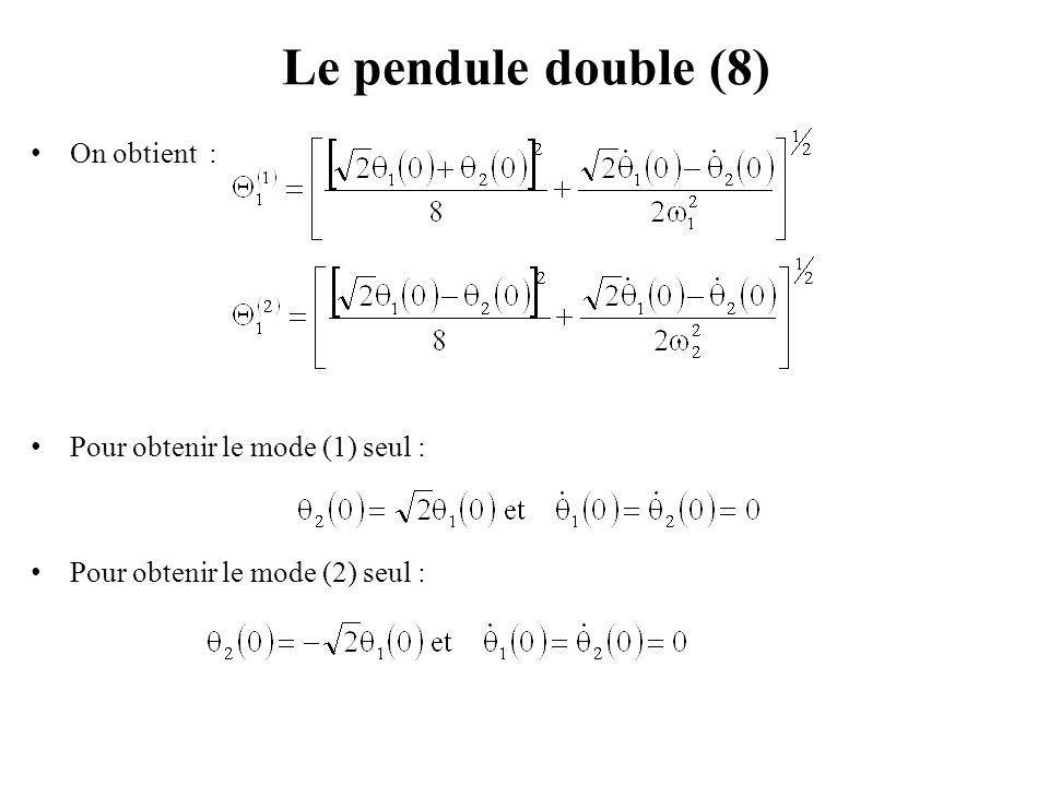 Exemple 1 : Pendule double portant des masses différentes (1) Un pendule double, est libre d'osciller dans le plan vertical oxy.