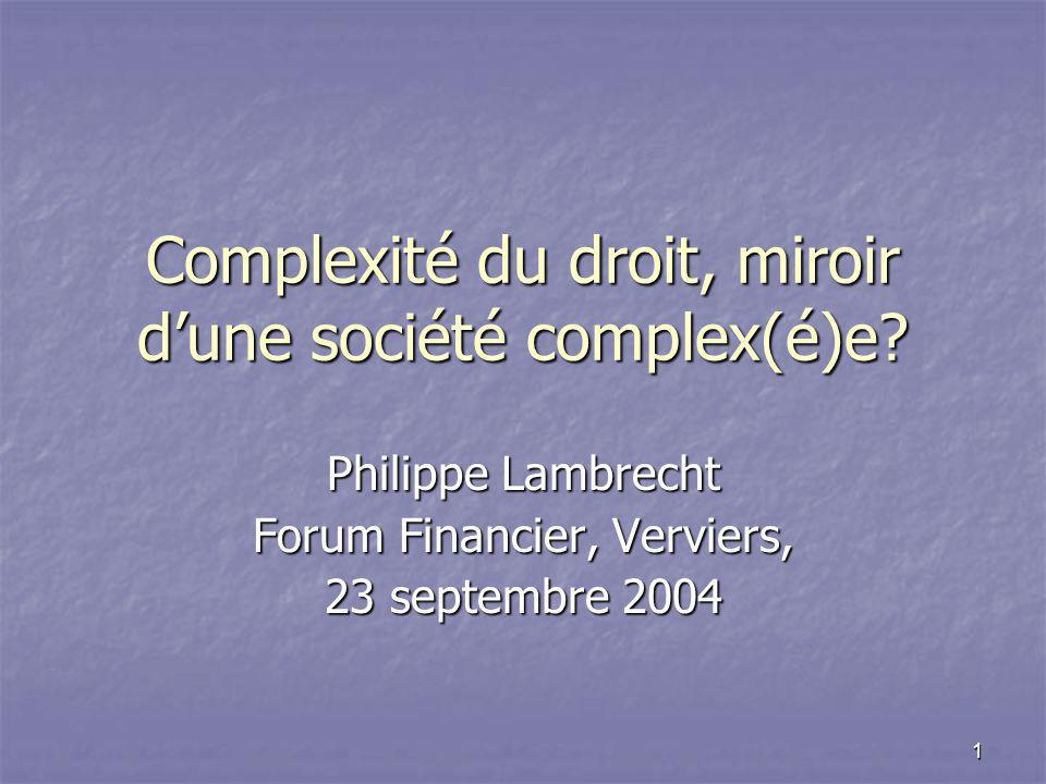 1 Complexité du droit, miroir d'une société complex(é)e.