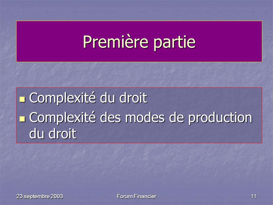 23 septembre 2003Forum Financier11 Première partie Complexité du droit Complexité du droit Complexité des modes de production du droit Complexité des modes de production du droit