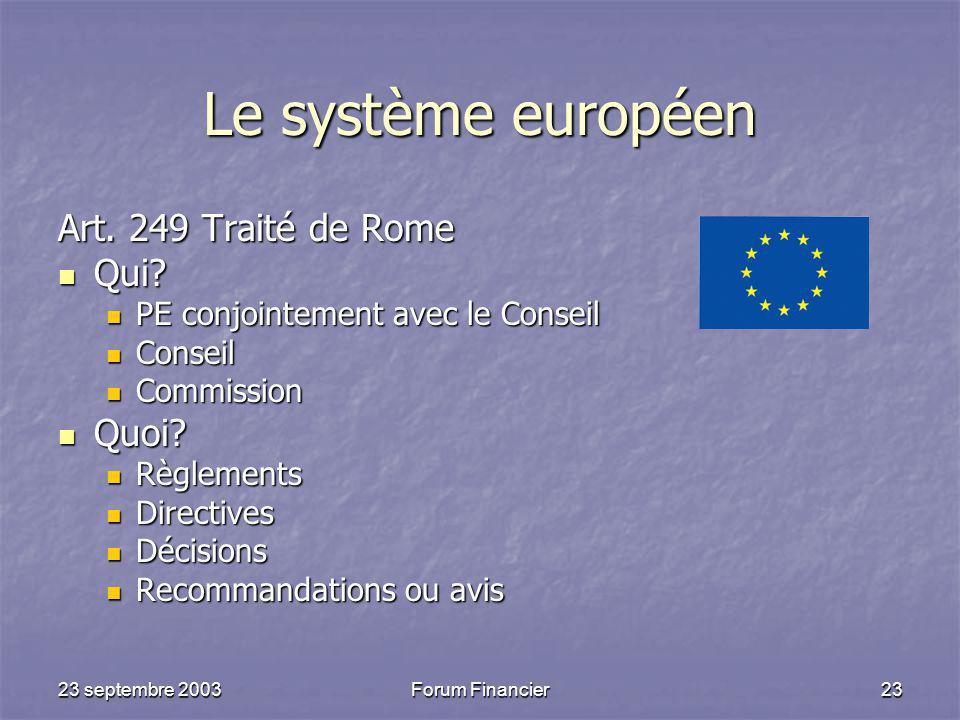23 septembre 2003Forum Financier23 Le système européen Art.