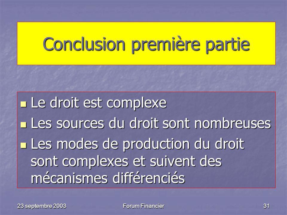 23 septembre 2003Forum Financier31 Conclusion première partie Le droit est complexe Le droit est complexe Les sources du droit sont nombreuses Les sources du droit sont nombreuses Les modes de production du droit sont complexes et suivent des mécanismes différenciés Les modes de production du droit sont complexes et suivent des mécanismes différenciés