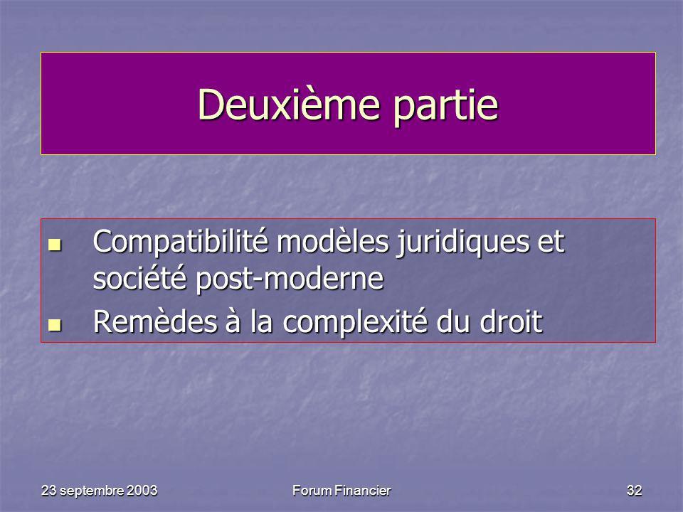 23 septembre 2003Forum Financier32 Deuxième partie Compatibilité modèles juridiques et société post-moderne Compatibilité modèles juridiques et société post-moderne Remèdes à la complexité du droit Remèdes à la complexité du droit