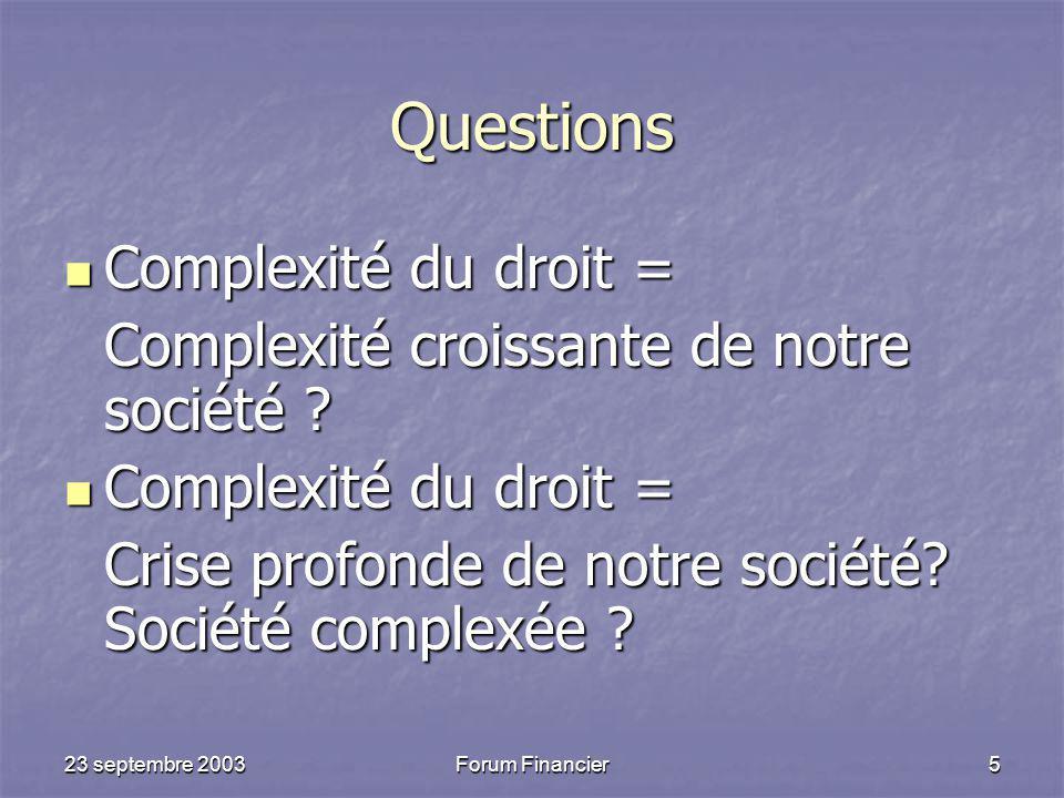23 septembre 2003Forum Financier5 Questions Complexité du droit = Complexité du droit = Complexité croissante de notre société .