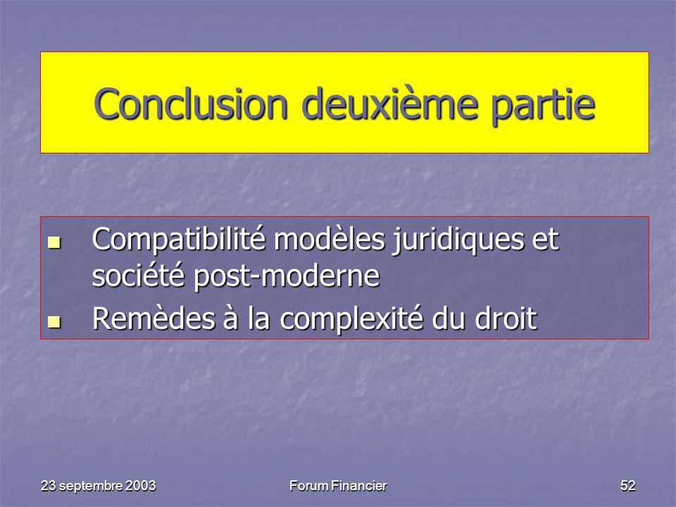 23 septembre 2003Forum Financier52 Conclusion deuxième partie Compatibilité modèles juridiques et société post-moderne Compatibilité modèles juridiques et société post-moderne Remèdes à la complexité du droit Remèdes à la complexité du droit