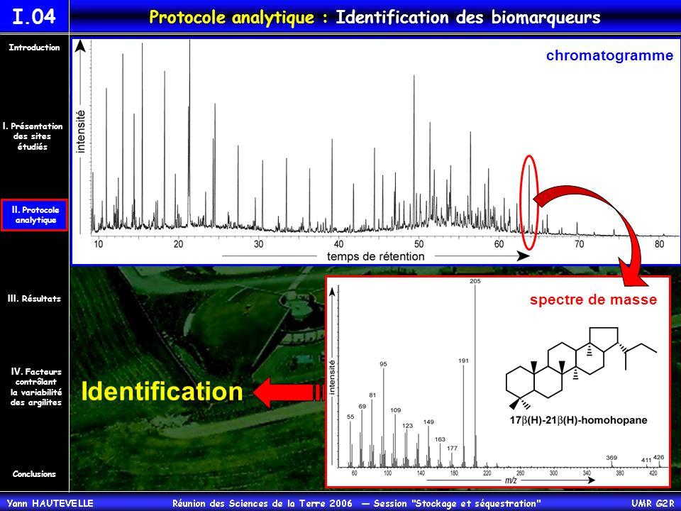 chromatogramme Identification spectre de masse Conclusions Introduction IV.