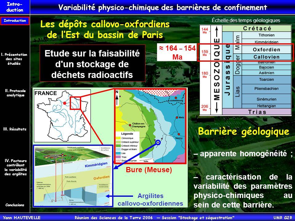 Le traçage des variabilités au sein des barrières de confinement par la géochimie organique.
