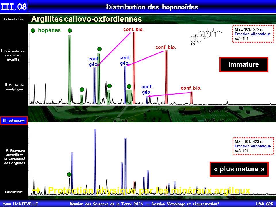 Argilites callovo-oxfordiennes MSE 101; 575 m Fraction aliphatique m/z 191 conf.