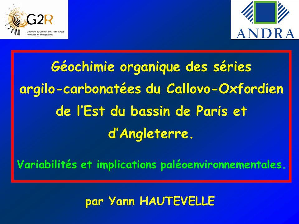 Géochimie organique des séries argilo-carbonatées du Callovo-Oxfordien de l'Est du bassin de Paris et d'Angleterre. Variabilités et implications paléo