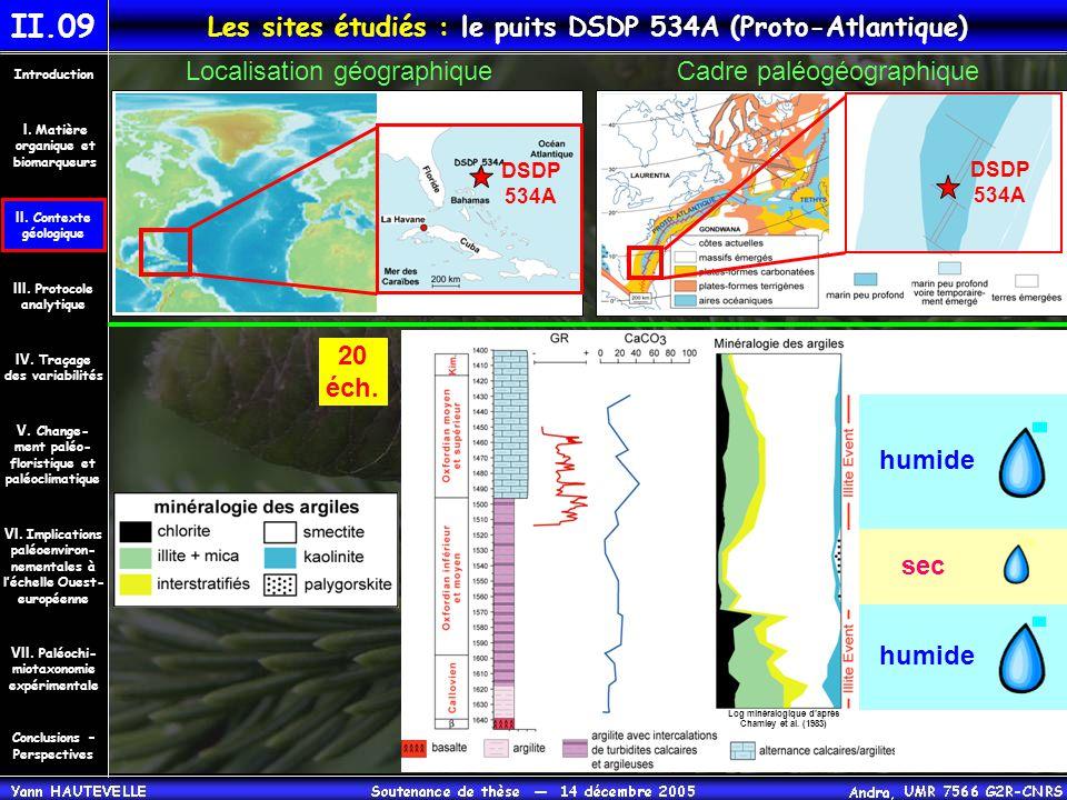 Les sites étudiés : le puits DSDP 534A (Proto-Atlantique) Localisation géographiqueCadre paléogéographique II.09 Log minéralogique d'après Chamley et