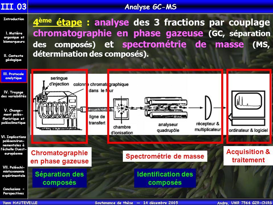 4 ème étape : analyse des 3 fractions par couplage chromatographie en phase gazeuse (GC, séparation des composés) et spectrométrie de masse (MS, déter