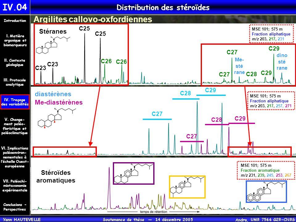 Distribution des stéroïdes IV.04 Conclusions – Perspectives II. Contexte géologique Introduction III. Protocole analytique IV. Traçage des variabilité