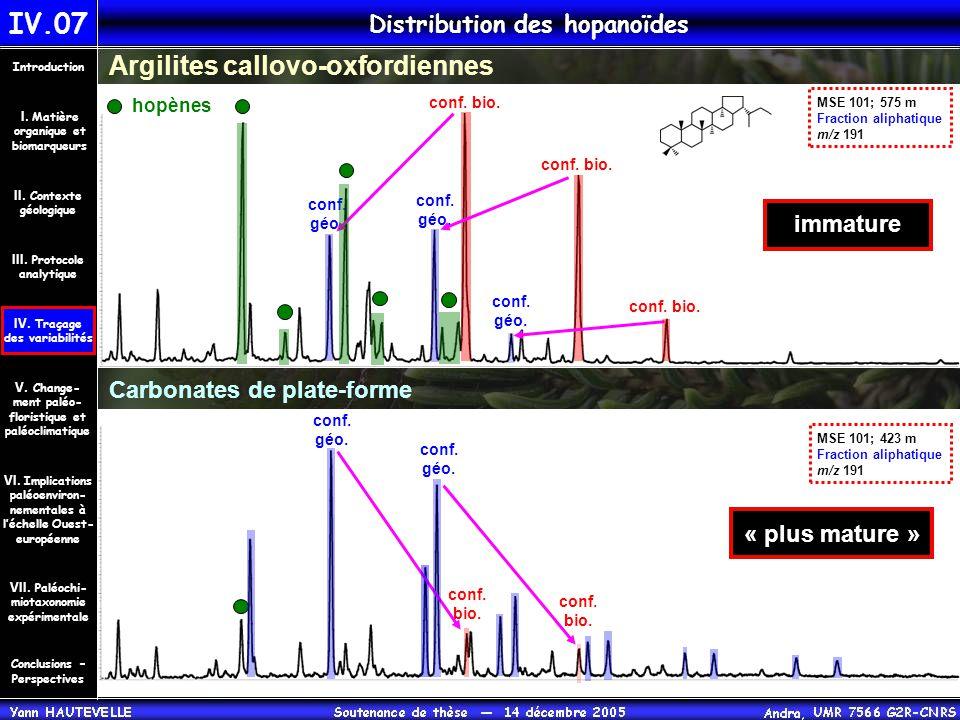 IV.07 Distribution des hopanoïdes Conclusions – Perspectives II. Contexte géologique Introduction III. Protocole analytique IV. Traçage des variabilit