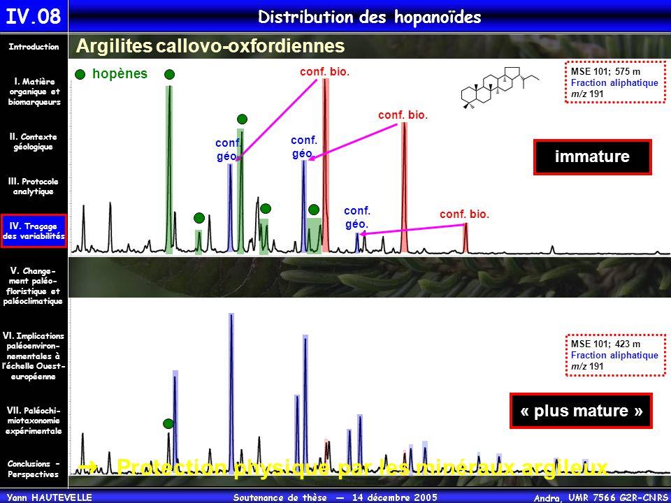 IV.08 Distribution des hopanoïdes Conclusions – Perspectives II. Contexte géologique Introduction III. Protocole analytique IV. Traçage des variabilit