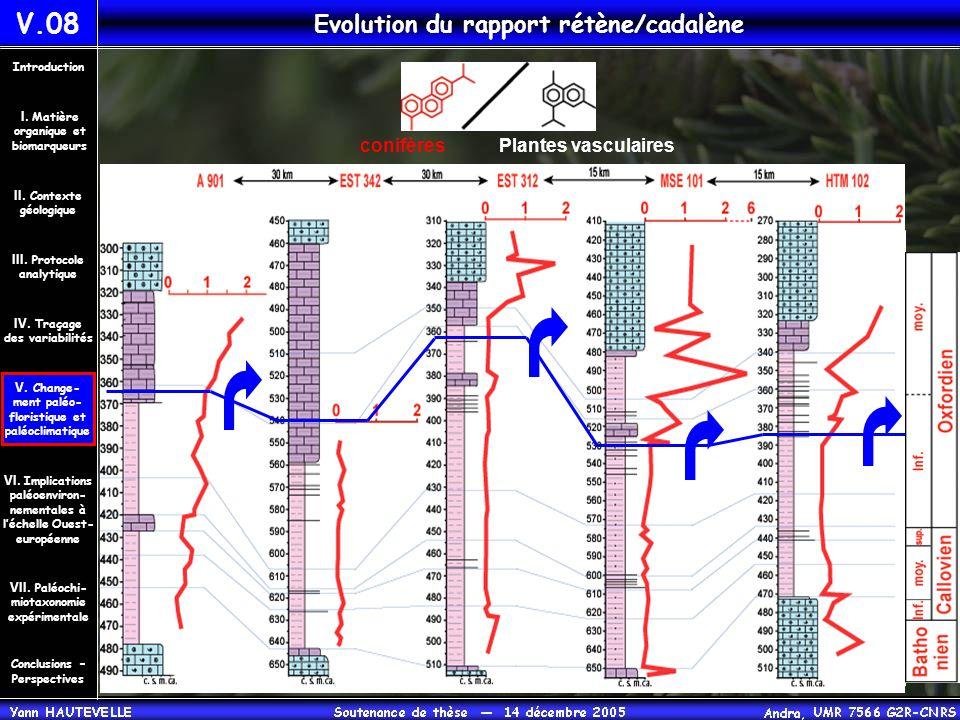 V.08 Evolution du rapport rétène/cadalène Conclusions – Perspectives II. Contexte géologique Introduction III. Protocole analytique IV. Traçage des va
