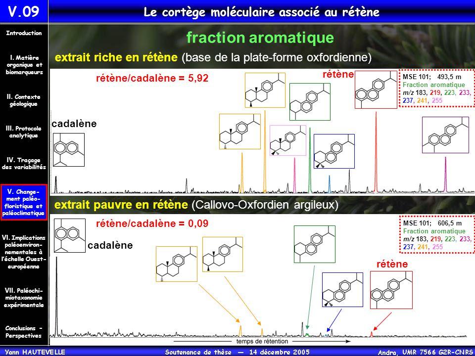 V.09 Le cortège moléculaire associé au rétène extrait riche en rétène (base de la plate-forme oxfordienne) extrait pauvre en rétène (Callovo-Oxfordien