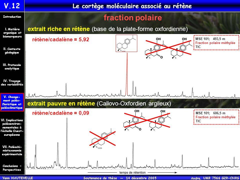 fraction polaire V.12 Le cortège moléculaire associé au rétène Conclusions – Perspectives II. Contexte géologique Introduction III. Protocole analytiq