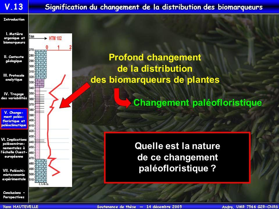 V.13 Signification du changement de la distribution des biomarqueurs Conclusions – Perspectives II. Contexte géologique Introduction III. Protocole an
