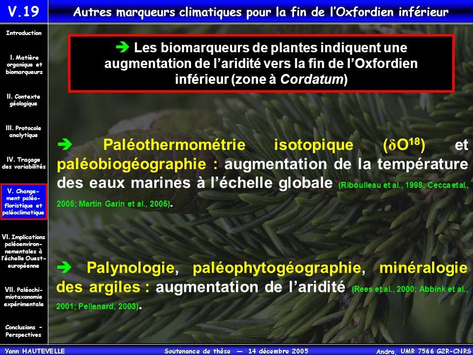  Paléothermométrie isotopique ( δ O 18 ) et paléobiogéographie : augmentation de la température des eaux marines à l'échelle globale (Riboulleau et a