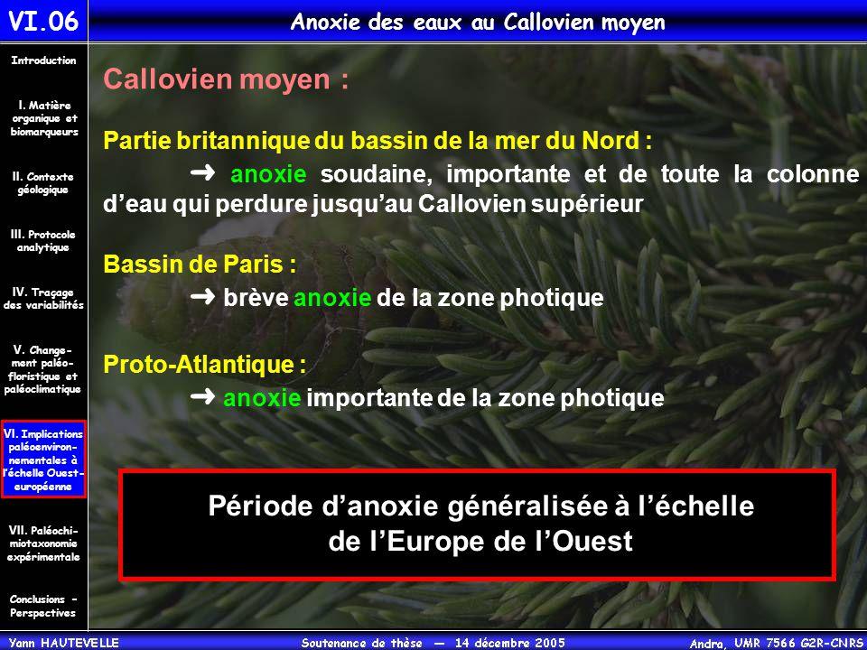 VI.06 Anoxie des eaux au Callovien moyen Conclusions – Perspectives II. Contexte géologique Introduction III. Protocole analytique IV. Traçage des var