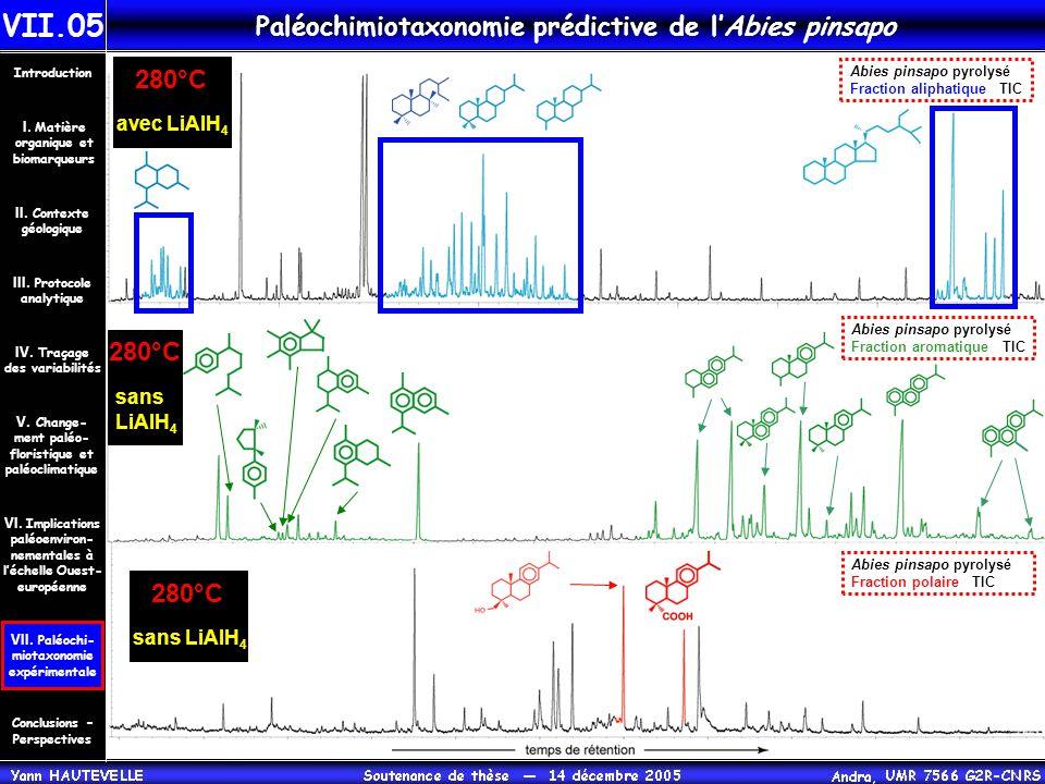 Paléochimiotaxonomie prédictive de l'Abies pinsapo Abies pinsapo pyrolysé Fraction aliphatique TIC Abies pinsapo pyrolysé Fraction aromatique TIC Abie