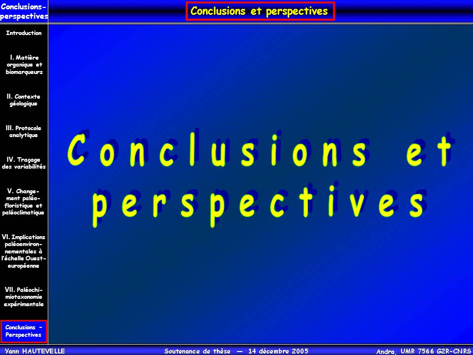 Conclusions et perspectives Conclusions- perspectives Conclusions – Perspectives II. Contexte géologique Introduction III. Protocole analytique IV. Tr