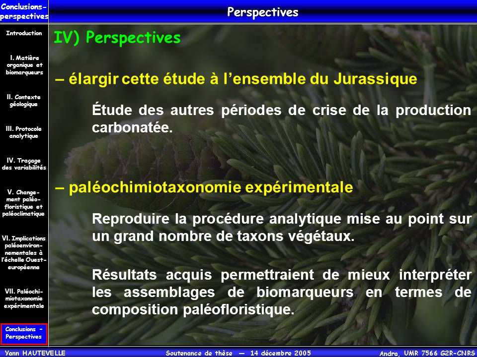 Conclusions – Perspectives Conclusions- perspectives II. Contexte géologique Introduction III. Protocole analytique IV. Traçage des variabilités V. Ch