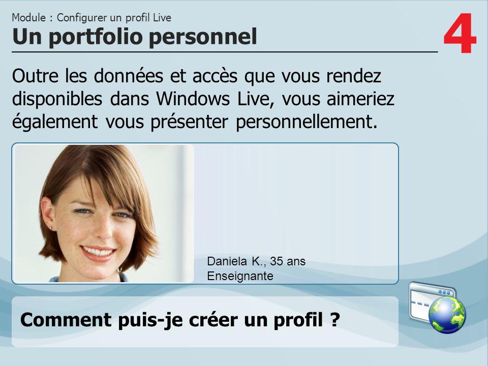 5 Option 1 La page Profil sur Live.com offre de nombreuses rubriques dans lesquelles vous pouvez entrer vos données et préféren- ces personnelles.