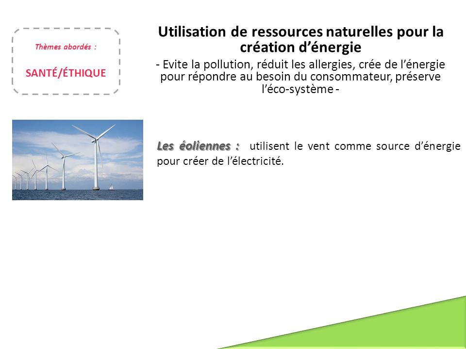 Utilisation de ressources naturelles pour la création d'énergie - Evite la pollution, réduit les allergies, crée de l'énergie pour répondre au besoin