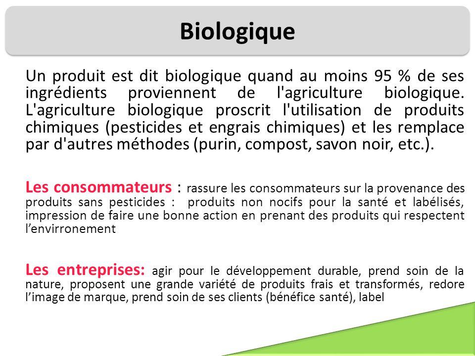 Biologique Un produit est dit biologique quand au moins 95 % de ses ingrédients proviennent de l'agriculture biologique. L'agriculture biologique pros