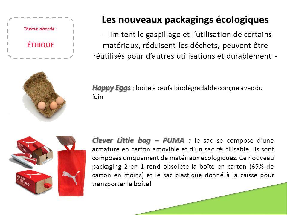 Les nouveaux packagings écologiques - limitent le gaspillage et l'utilisation de certains matériaux, réduisent les déchets, peuvent être réutilisés po