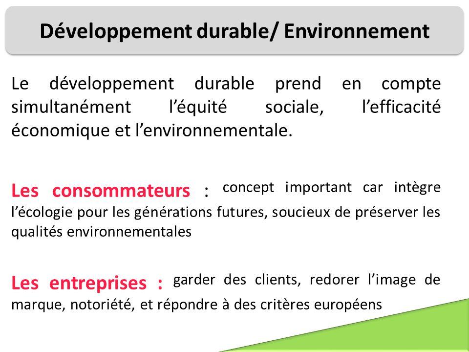 Développement durable/ Environnement Le développement durable prend en compte simultanément l'équité sociale, l'efficacité économique et l'environneme