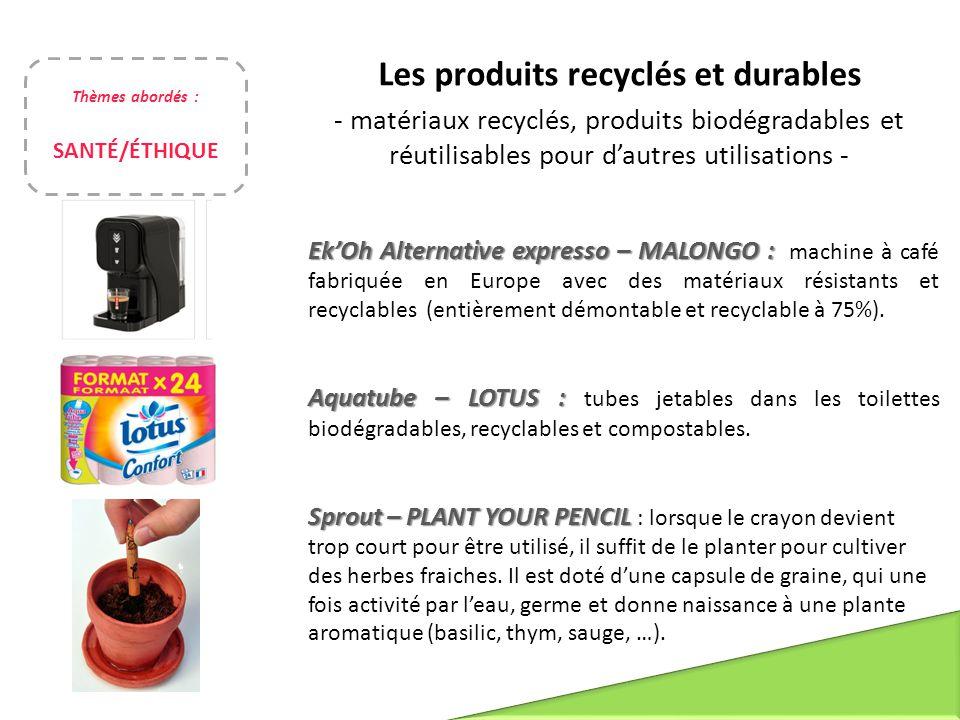 Les produits recyclés et durables - matériaux recyclés, produits biodégradables et réutilisables pour d'autres utilisations - Ek'Oh Alternative expres